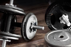 Composition of dumbbells and barbells Royalty Free Stock Photos