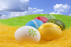 Composition of easter eggs Stock Images