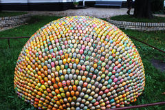 The composition of Easter eggs. Art object made of decorated Easter eggs Stock Photo
