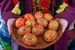 Composition of Easter eggs. Basket with a composition of Easter eggs in the hands of a woman Royalty Free Stock Photos