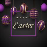The composition of Easter eggs. Festive background On a black background, violet-golden easter eggs.Template for posters. And posters of sale banners ,. Vector Royalty Free Stock Image
