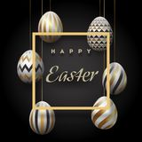 The composition of Easter eggs. Festive background On a black background, white-golden easter eggs.Template for posters. And posters of sale banners ,. Vector Stock Images