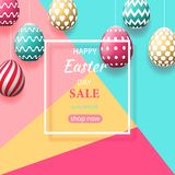 The composition of Easter eggs. Festive background On a multicolored trendy background, colorful painted Easter eggs. Poster for posters and posters of sale Stock Photos