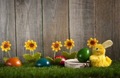 Composition of easter eggs with rabbit Stock Photos