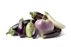 Composition of eggplants. On white background Royalty Free Stock Image