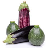 Composition with eggplants and zucchini Royalty Free Stock Photos