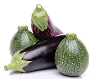 Composition with eggplants and zucchini Stock Image