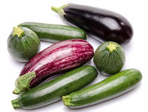 Composition with eggplants and zucchini Stock Images