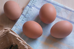 Composition of eggs on cloth Stock Photography