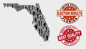 Composition of Electoral Florida State Map and Grunge Best Quality Stamp Seal royalty free illustration