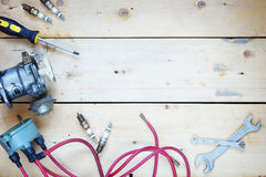 Composition with electrical automobile spare parts Stock Photography