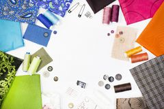 The composition of elements for sewing stock photography