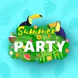 Composition en été de PARTIE de Word avec les fruits verts créatifs de toucans de feuilles de jungle et coctail dans le style de  illustration libre de droits