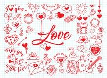 Composition en amour dans le style de griffonnage Photographie stock