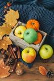 Composition en automne au-dessus de fond en bois Pommes, images stock
