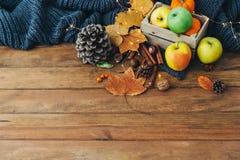 Composition en automne avec des pommes, feuilles photographie stock