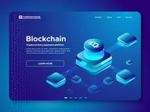 Composition en Blockchain Plate-forme anonyme de paiements de cryptocurrency de cryptographie Vecteur isométrique de connexion sé illustration stock