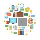 Composition en cercle d'icônes d'affaires Photos stock