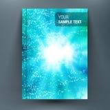 Composition en conception avec des ampoules sur le contexte d'aqua Feuille de titre de la brochure A4 illustration de vecteur