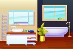 Composition en conception intérieure de salle de bains illustration de vecteur