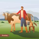 Composition en With Cow Flat d'agriculteur illustration de vecteur