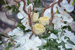 Composition en décor avec les orchidées et les roses blanches photographie stock libre de droits