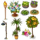 Composition en Ffloral, torche, réverbère et autre illustration stock