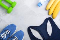 Composition en Flatlay avec l'équipement d'équipement de sport Images libres de droits