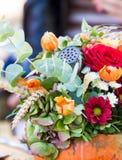 Composition en fleur d'automne en potiron Image stock