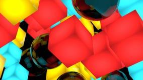 Composition en fond avec des cubes et des sphères l'illustration 3d rendent D'isolement sur le noir illustration libre de droits