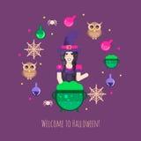 Composition en Halloween de chaudron de sorcières Images stock