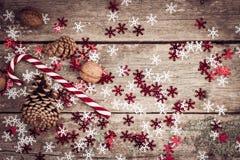 Composition en hiver avec la lucette, les cônes de pin et les noix Image libre de droits