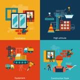 Composition en icônes de construction plate illustration stock
