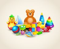 Composition en jouets d'enfants Photo stock