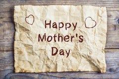 Composition en jour de mères, feuille de papier Tir de studio, en bois, fond Photographie stock