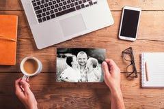 Composition en jour de pères Photo noire et blanche concept pour des affaires et la journalisation Photos stock
