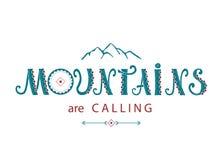 Composition en lettrage Les montagnes appellent illustration de vecteur