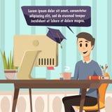 Composition en ligne en éducation dans le style de bandes dessinées Image stock
