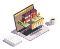 Composition en ligne en villa d'achat illustration libre de droits