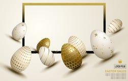 Composition en lumière de Pâques avec un ensemble d'oeufs dessinés dans la pente, illustration de vecteur