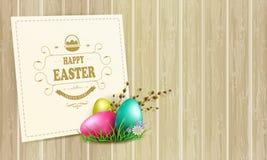 Composition en lumière de Pâques avec une silhouette des oeufs, une branche de saule et un cadre carré, illustration de vecteur