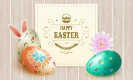 Composition en lumière de Pâques avec une silhouette des oeufs, des oreilles de lapin, d'une fleur et d'un cadre carré, illustration libre de droits