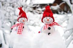 Composition en Noël avec des snowmans Photos stock