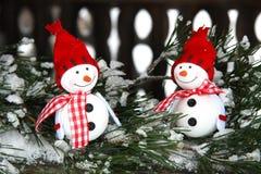 Composition en Noël avec des snowmans Photographie stock libre de droits