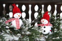 Composition en Noël avec des snowmans Photos libres de droits