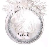 Composition en Noël avec deux petits oiseaux en babiole de scintillement Image stock