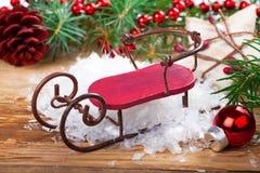 Composition en Noël avec le traîneau Images stock