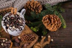 Composition en Noël ou en nouvelle année avec le Dr. de chocolat chaud ou de cacao Images libres de droits