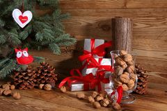 Composition en Noël parfaitement adaptée pour envoyer un ami et pour les rendre heureux Photos libres de droits