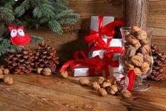 Composition en Noël parfaitement adaptée pour envoyer un ami et pour les rendre heureux Images libres de droits